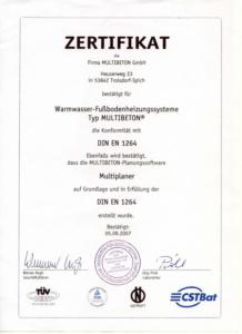 Сертификат DIN EN 1264 - Multibeton