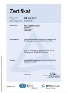 ISO-Сертификат - Multibeton