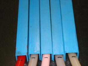 Отметки маркером на трубах в холодном состоянии (увеличено)