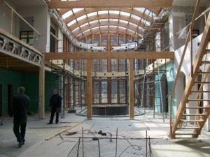 Отопление коттеджа в Вишенках - панорама монтажной площадки (холл, гостиная, зимний сад, бассейн)